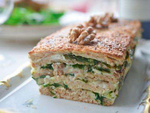Croque Cake Chèvre Noix Mâche