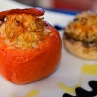 Légumes farcis au risotto de chèvre abricots secs, romarin