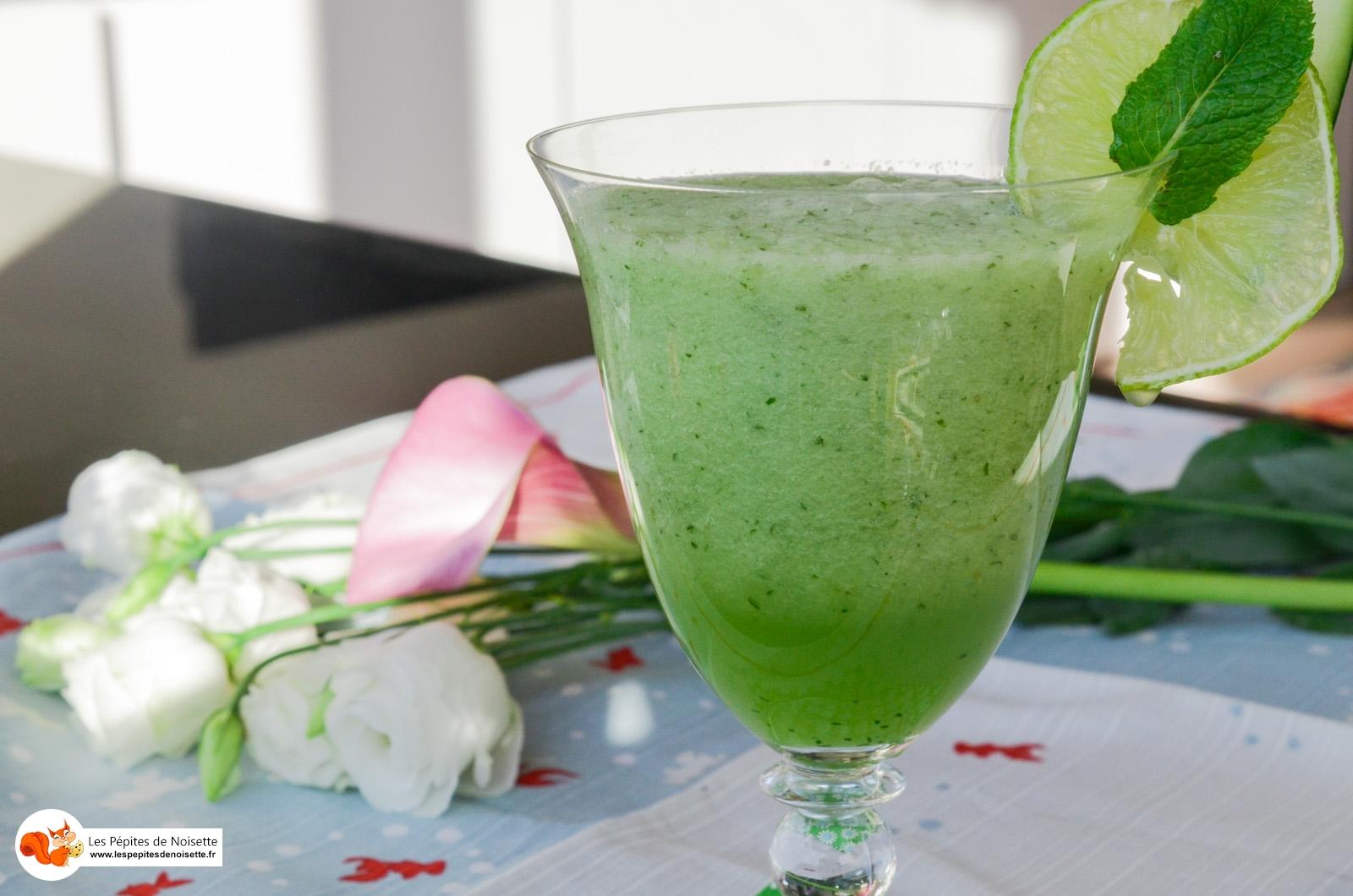 Smoothie Fraicheur Vert Melon Menthe Concombre Miel Aloes (8 Sur 9)