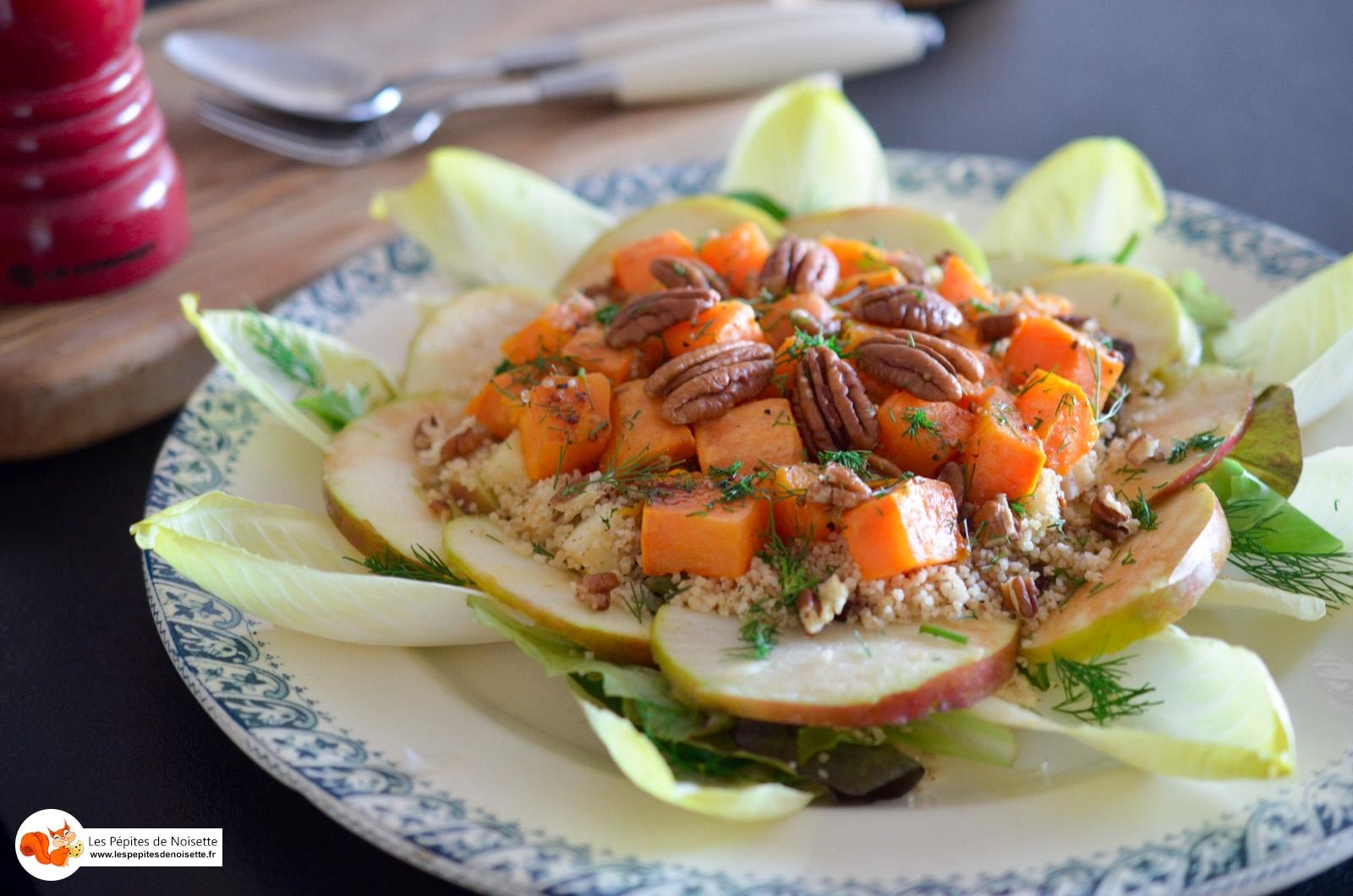 Salade aux patates douces r ties p can et sa vinaigrette orange balsamique les p pites de - Recette patate douce blanche ...