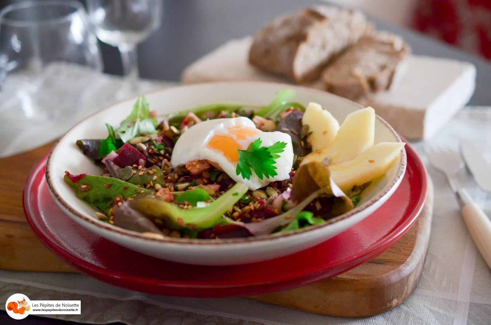 Salade Lentilles Oeuf Coulant Graines (5 Sur 6)
