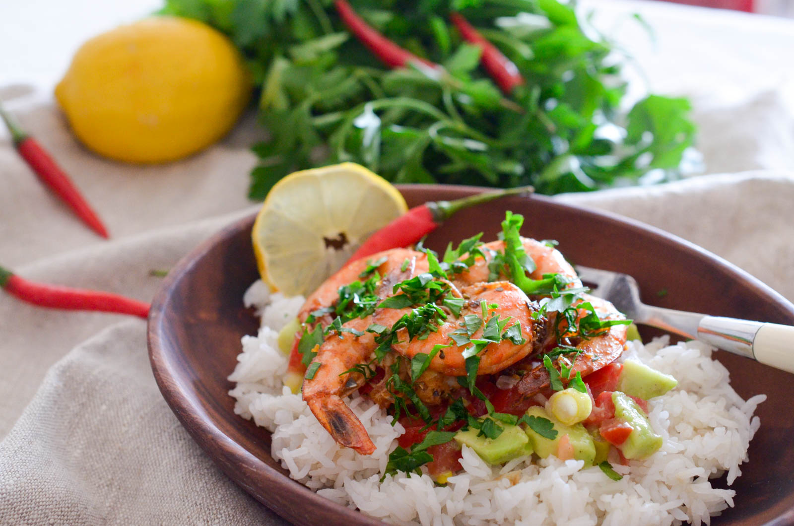 Crevettes Nouvelle Orléans Riz Salsa Tomate Avocat (6 Sur 7)