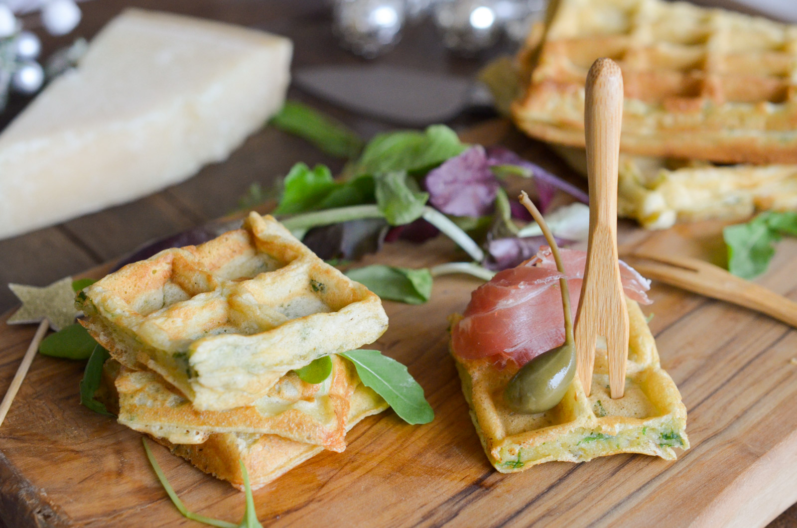 Gaufres Pesto Parmesan Roquette Panzani Fond Bois 5 Sur 8