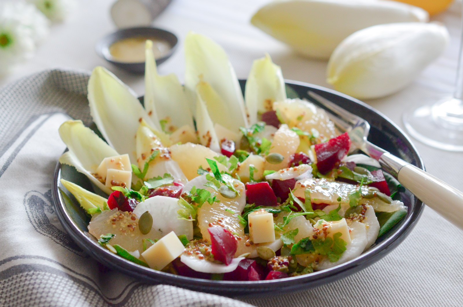Salade Endives Munster Pamplemousse Graines Courges 3 Sur 5
