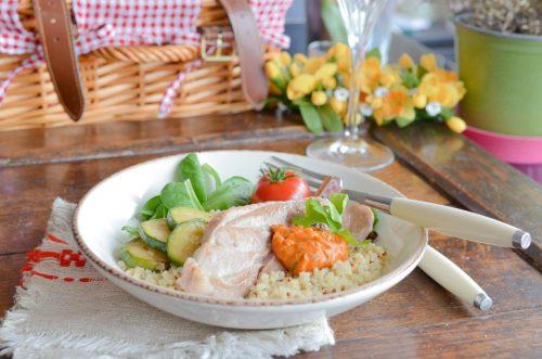 Dinde au pesto rosso, quinoa et courgettes grillées
