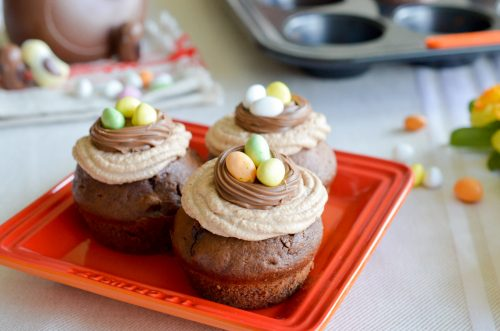 Muffins de Pâques tout choco et sa mousse praliné