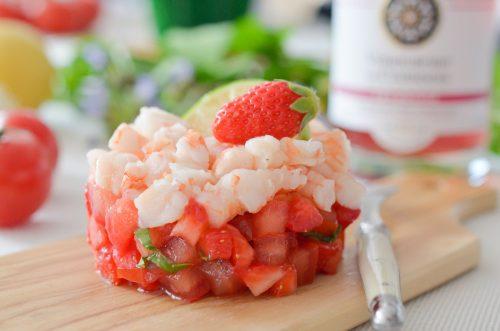 Tartare de gambas à la fraise