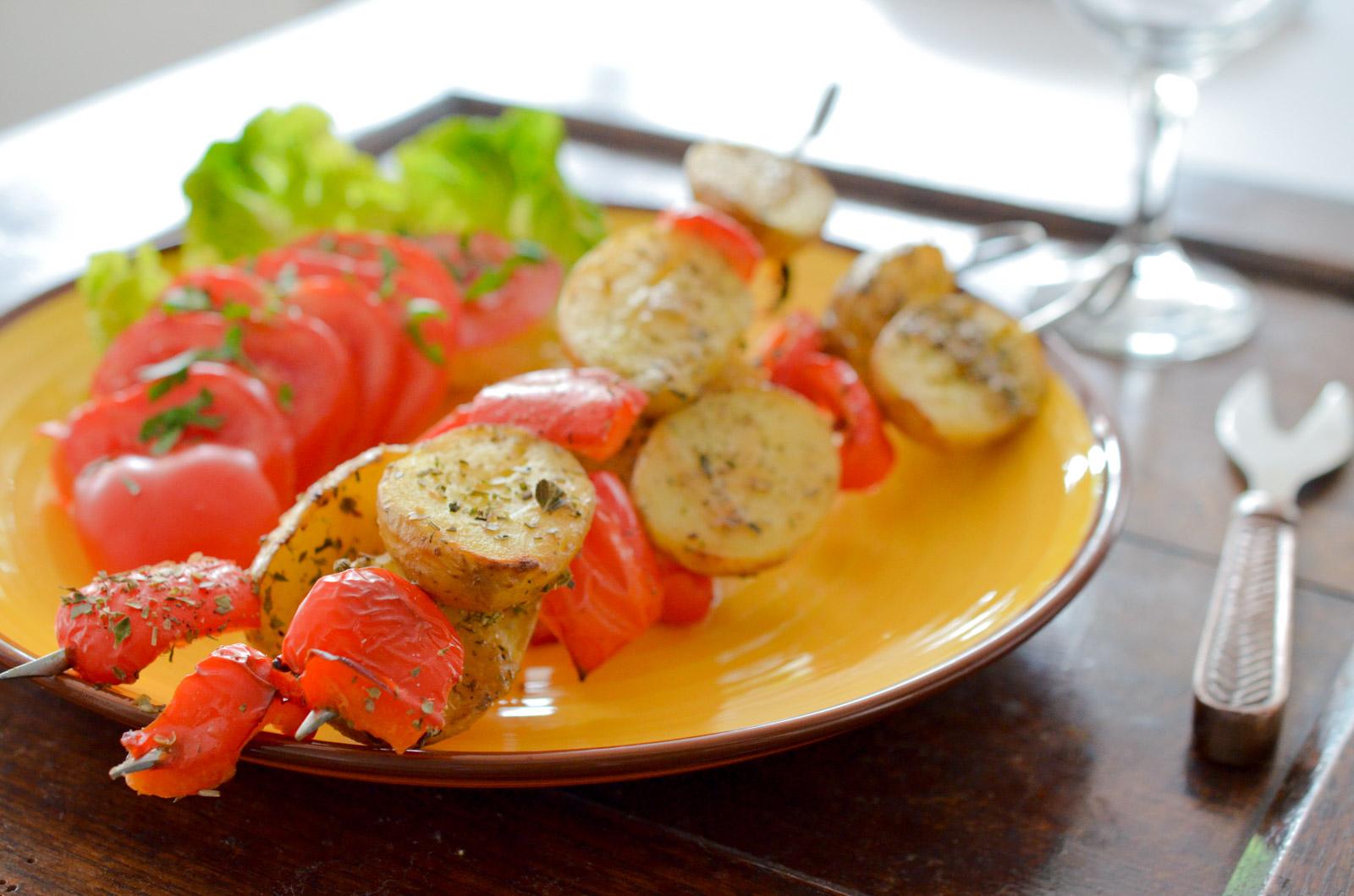 Brochettes de pommes de terre BBQ style