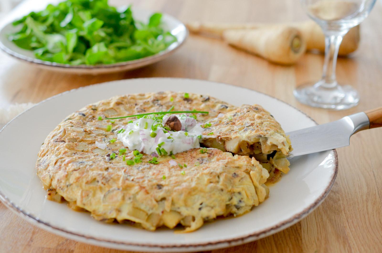 Tortilla aux panais et noisette