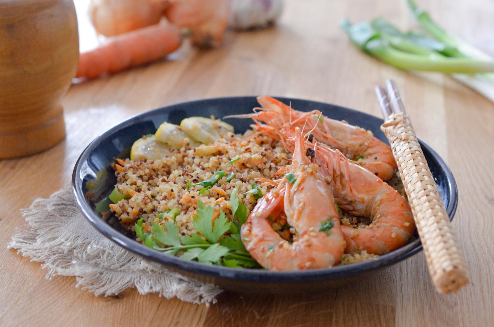 Quinoa Sauté au gingembre et aux crevettes
