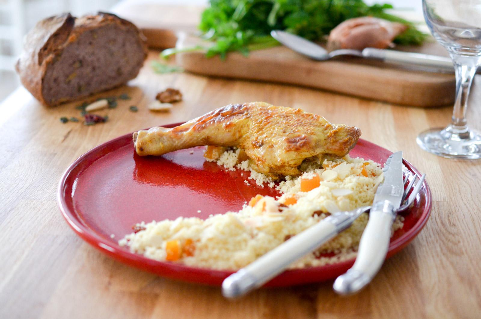 Poulet rôti et son couscous aux fruits secs