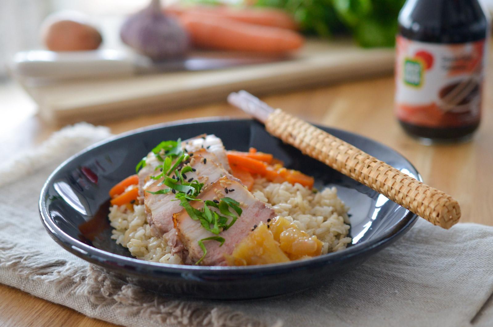 Poitrine de porc au chutney d'ananas et ses carottes à l'orange
