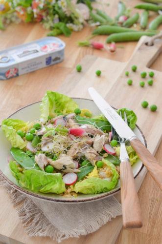 Salade croquante d'épeautre aux herbes et aux maquereaux