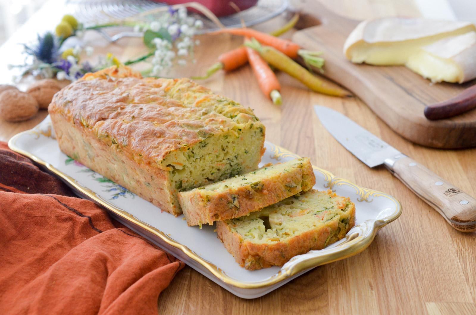 Cake fondant au reblochon courgette, carotte, cumin