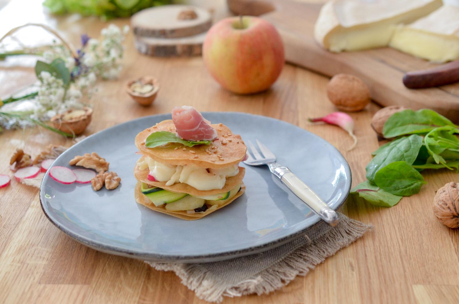 Millefeuille croustillant aux pommes et reblochon