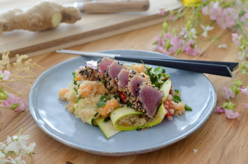 Tataki de thon au quinoa et melon