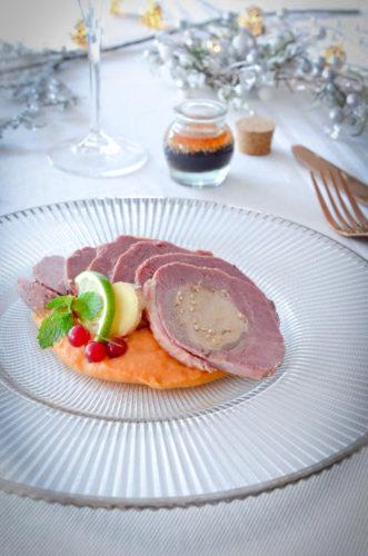 Magret au foie gras et sa crème de patate douce sauce citronnelle