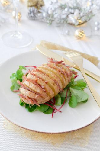 Hasselback potatoes au confit de canard