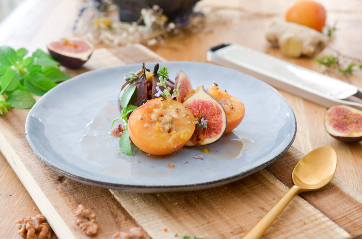 Figues Roties Miel Gingembre Assiette
