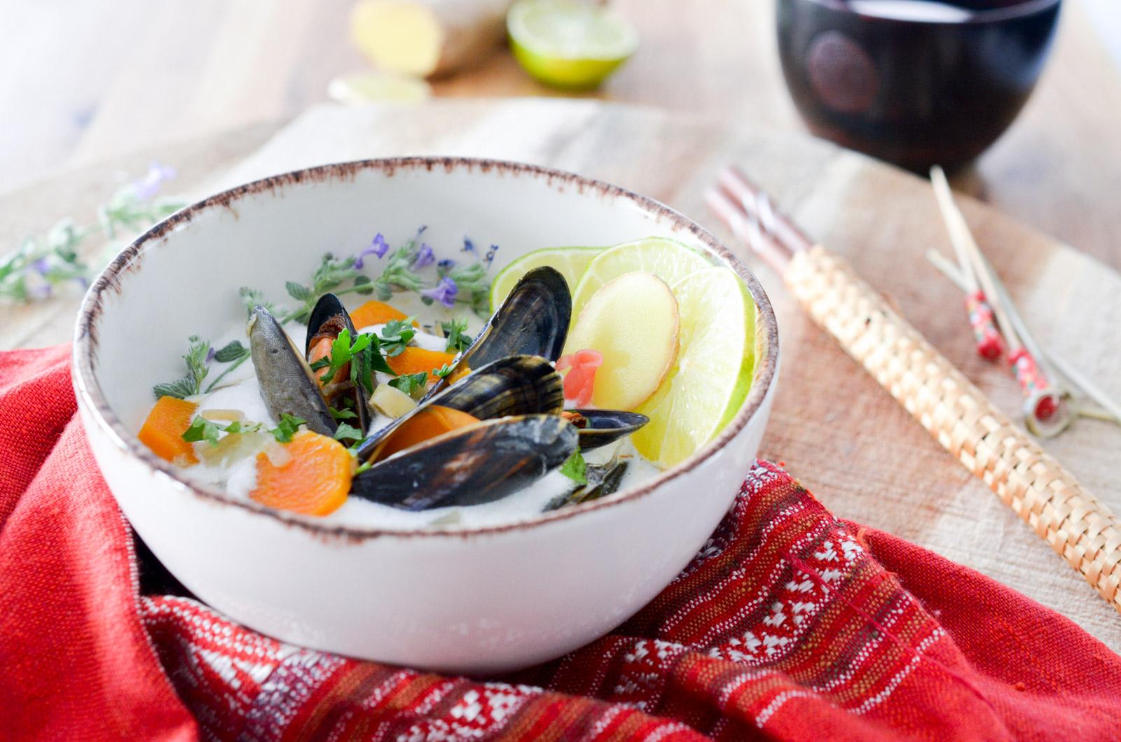 Moules de bouchot au bouillon coco citronnelle