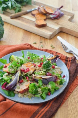 Salade de patates douces, vinaigrette miso