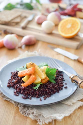 Légumes d'hiver glacés à l'orange
