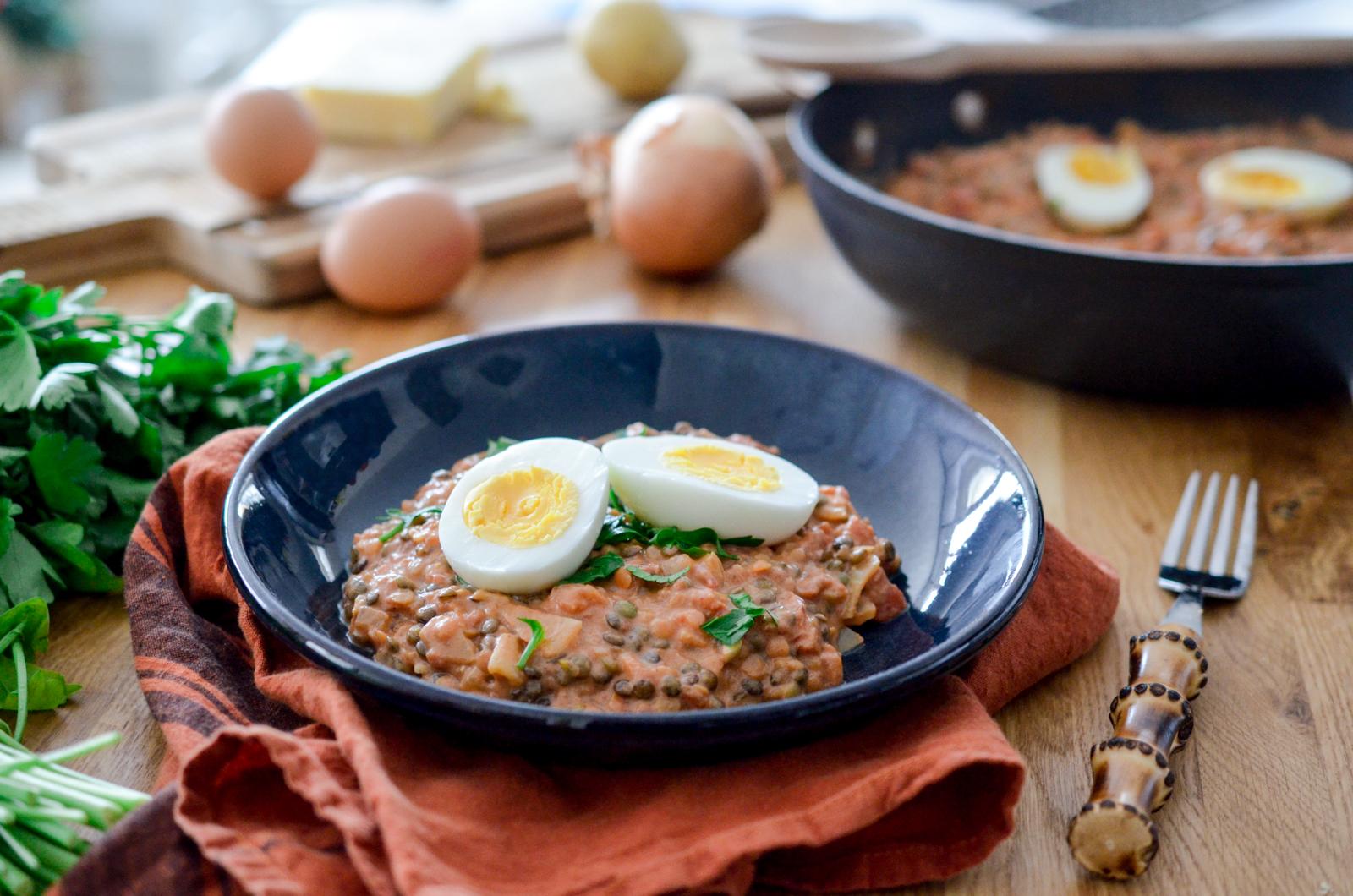 Curry de lentilles aux Oeufs