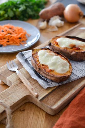 Patates douces façon pizza mozza
