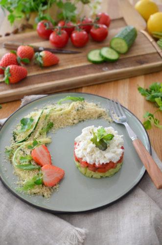 Recette Tartare Concombre tomate Fraise & Feta