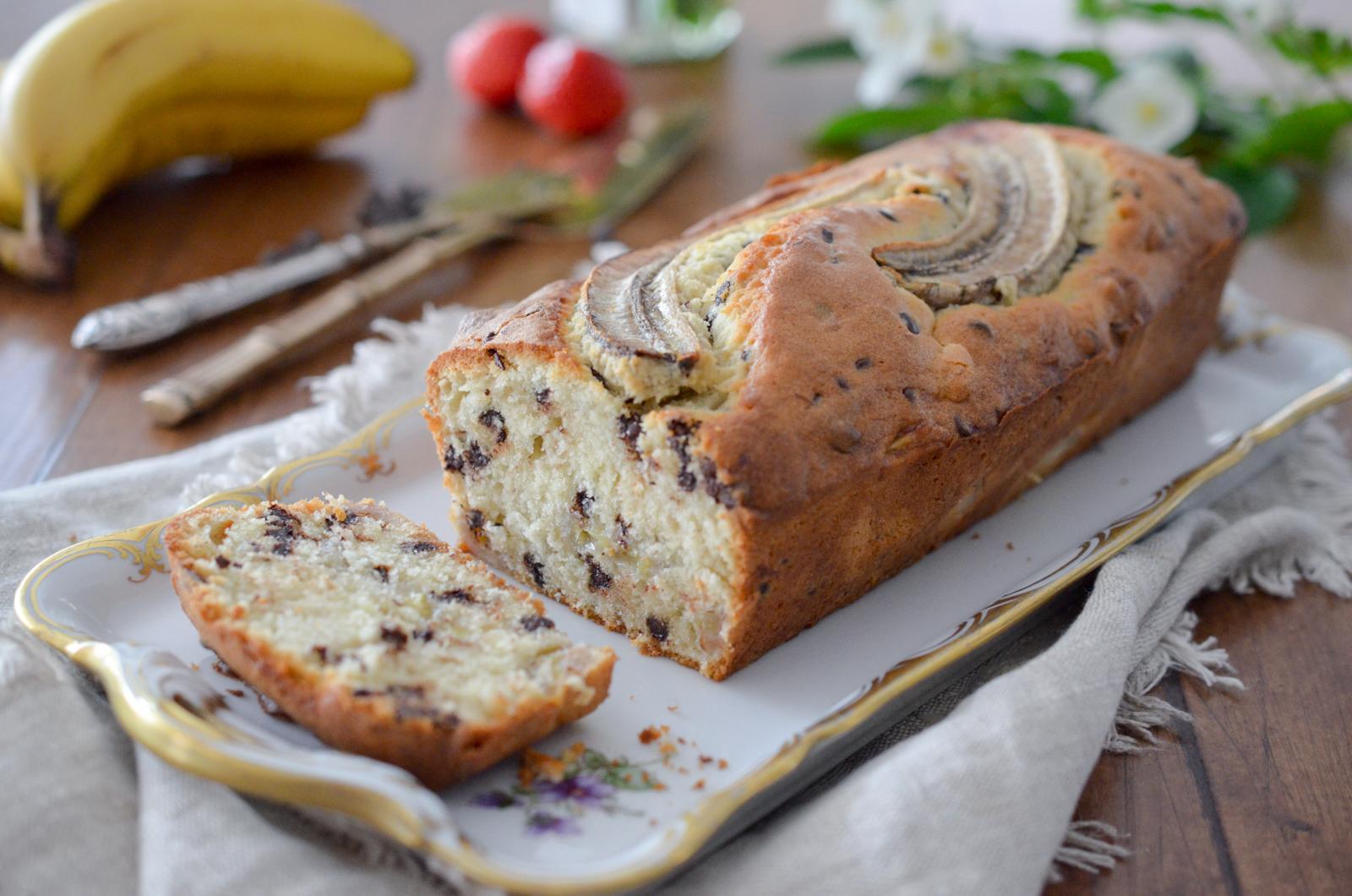 Cake aux bananes rôties et au chocolat